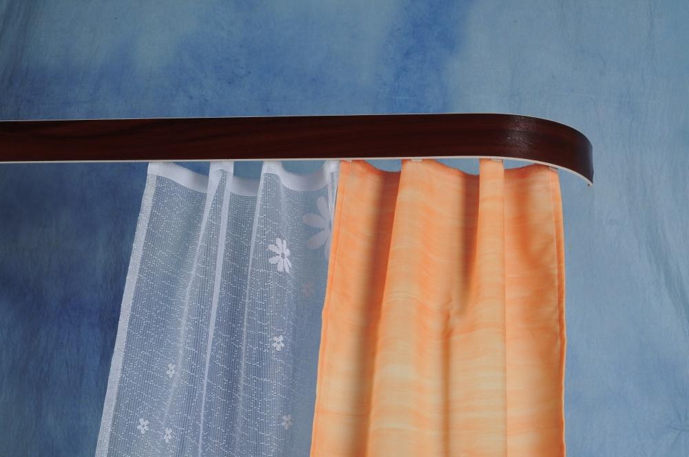 Kolejnicová garnýž mahagonové dřevo - 120 cm dvojitá