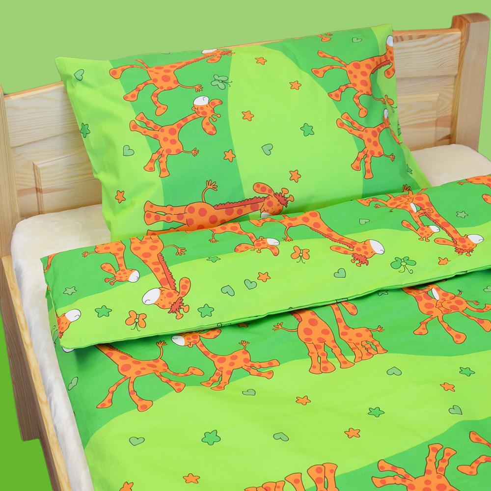 Dětské povlečení krepové Žirafky - zelená 140 x 90 cm+45 x 60 cm