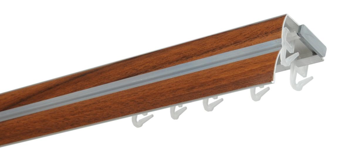 Hliníková kolejnicová garnýž ořech - 200cm dvojitá