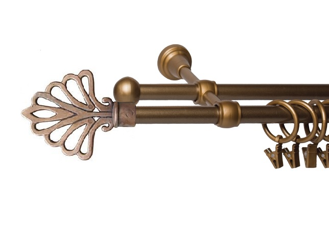 Garnýže kovové Modena zlatá 120 cm dvojitá