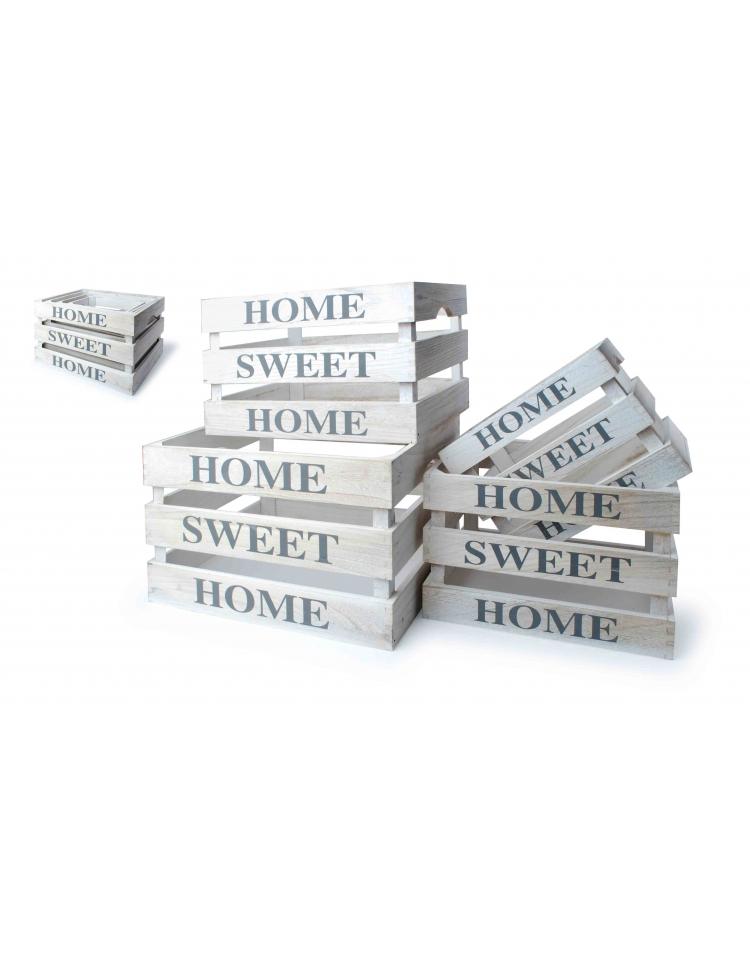 Dřevěná bedýnka Home Sweet Home 4ks