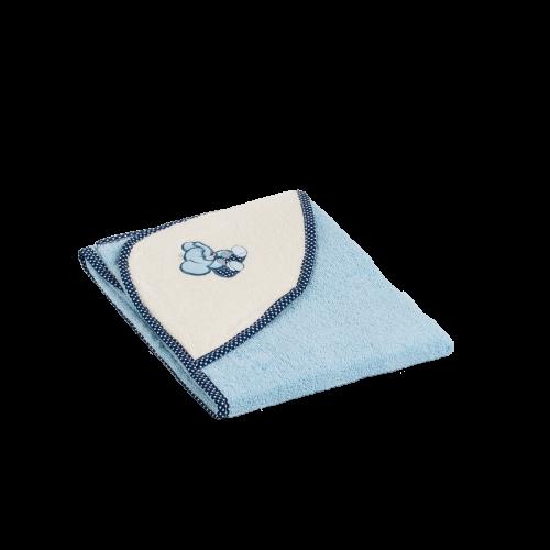 Dětská osuška s kapucí modrá 90x90cm