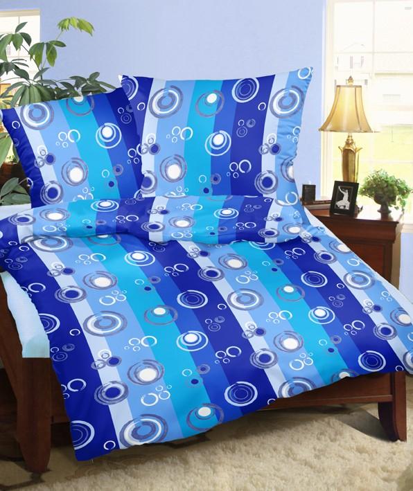 Povlečení krepové kruhy modré 140x200 cm
