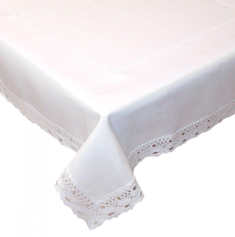 Ubrus Vintage 120 x 140 cm bílý