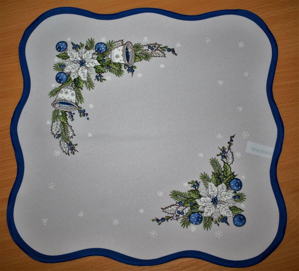 Vánoční ubrus Zvonky modrá 40 x 90cm