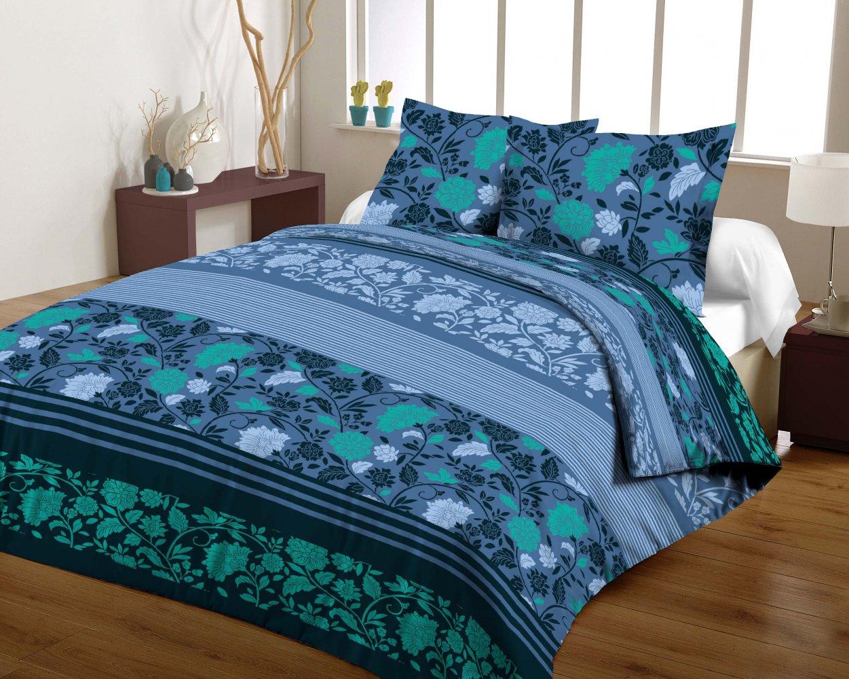 Povlečení bavlněný satén Ferie Blue 140 x 200 cm