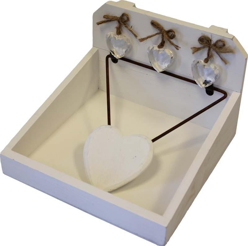 Dřevěná krabička na ubrousky bílá