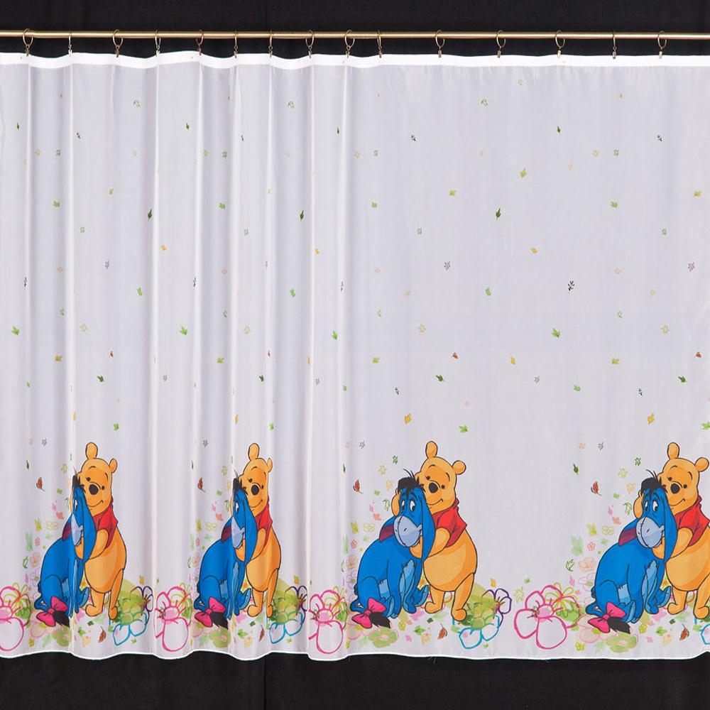 Dětská záclona Pú a oslík 160 cm obšít okraje (23 Kč/bm) a našít stužku Small 2,5cm (31 Kč/bm) 160