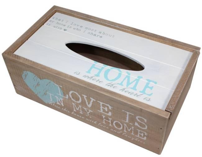 Dřevěná krabička na ubrousky Home