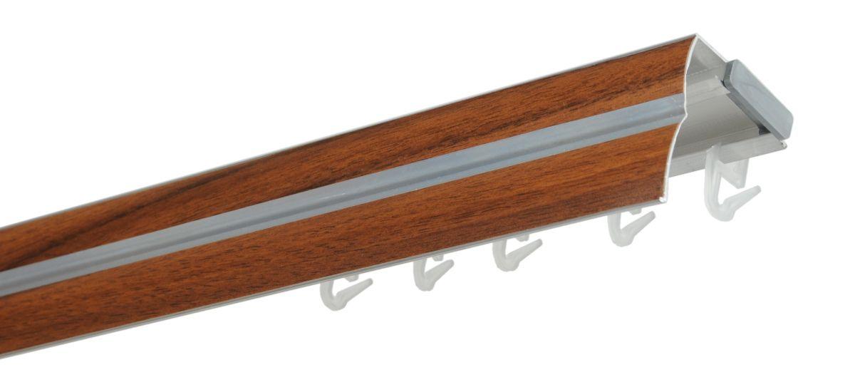 Hliníková kolejnicová garnýž ořech - 200cm