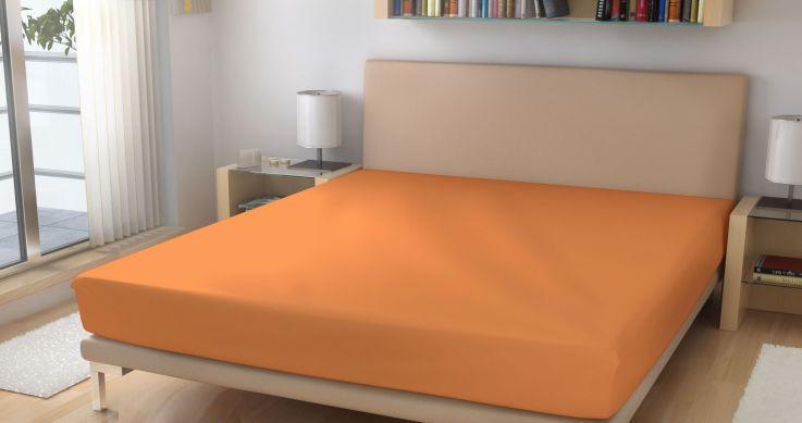 Prostěradlo elastické froté světle oranžové 90x200 cm