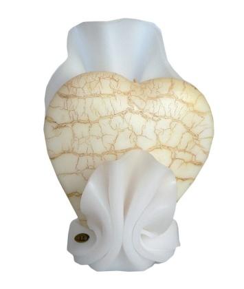 Svíčka bílá -srdce zlatě popraskané