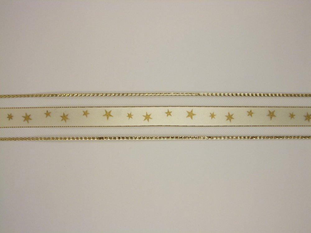 Stuha monofilová 25mm - zlatá hvězdičky