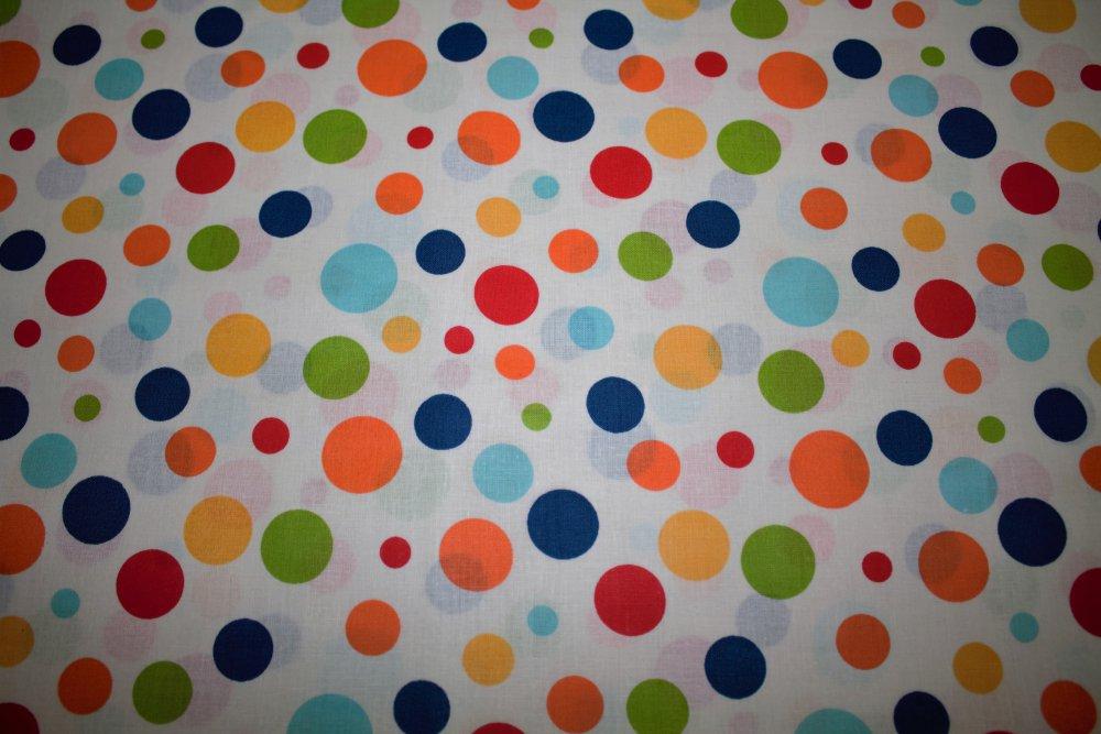 Dekorační látka barevné puntíky bez obšití 140