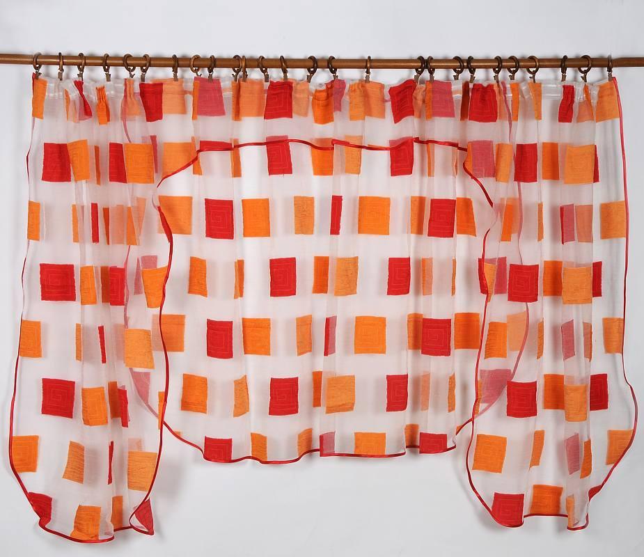 Záclona CUBO RED 135x400cm