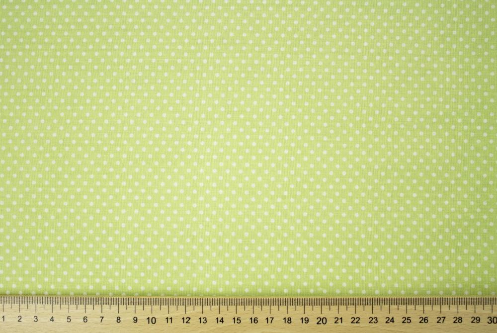 Dekorační látka zelená s mini puntíky bez obšití 140