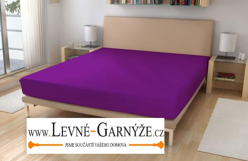 Prostěradlo elastické froté tm. fialové 180x200 cm