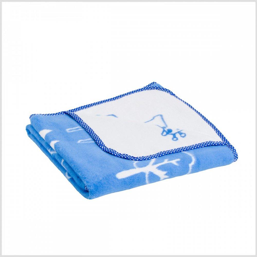 Dětská deka modrá se zvířátky 105x150cm