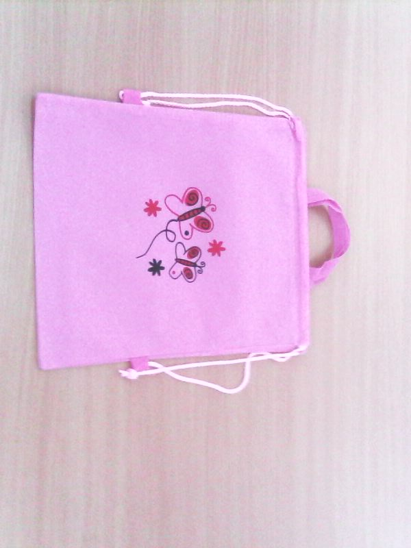 Pytlík na přezůvky 29 x 37 cm růžový motýlek