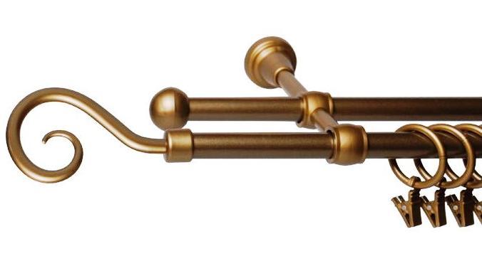 Garnýže kovové Roma zlatá 120 cm dvojitá