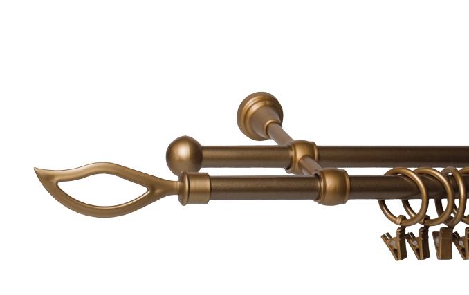 Garnýže kovové Plamen zlatá 120 cm dvojitá