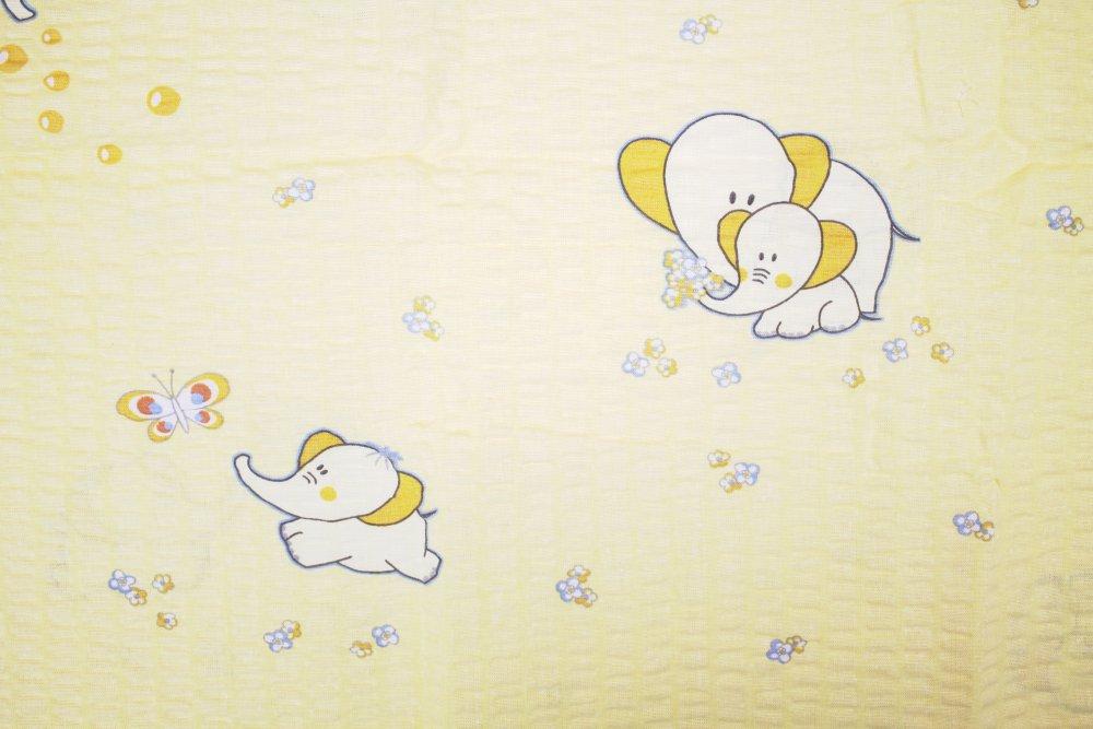 Dětské povlečení krepové Sloník - žluté 140 x 90 cm+45 x 60 cm