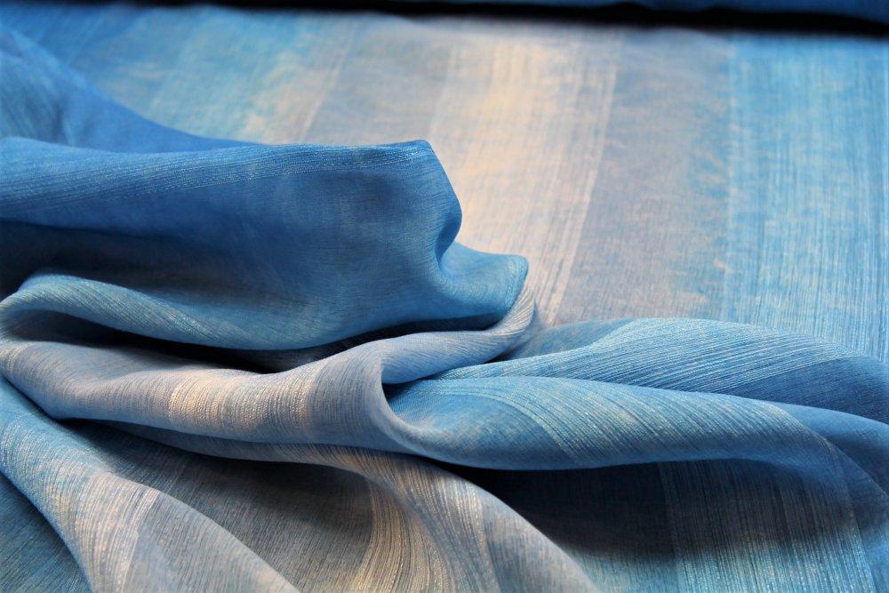Dekorační látka Etamina modrá bez obšití 140