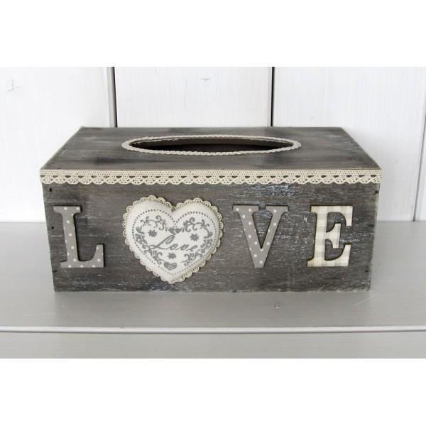 Dřevěná krabička na kapesníky LOVE