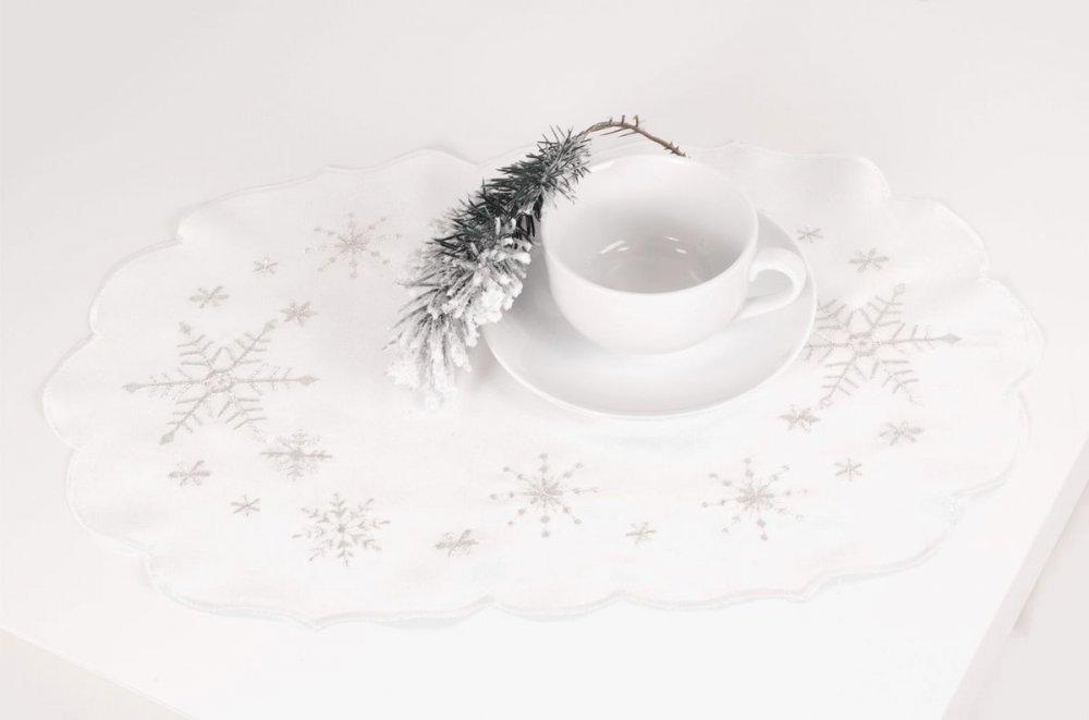 Vánoční ubrus - sněhové vločky 35 cm