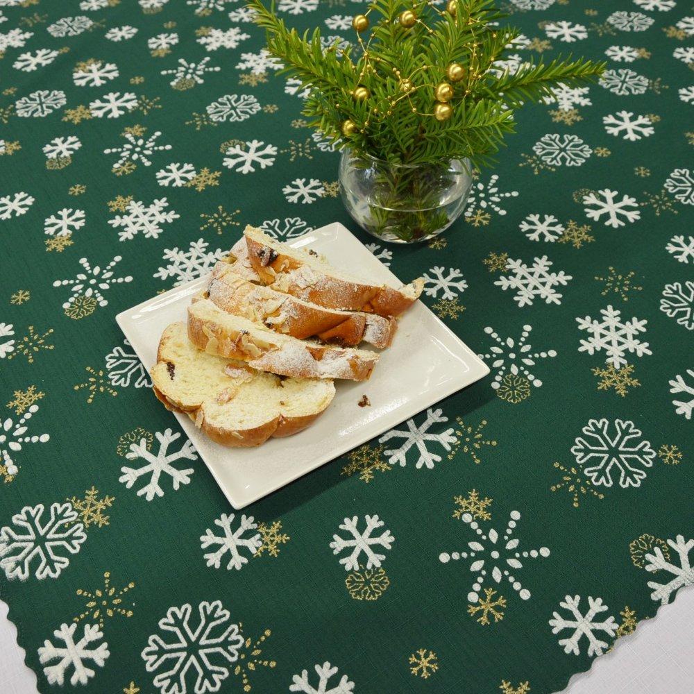 Vánoční ubrus zelený - Sněhová vločka 120x155cm