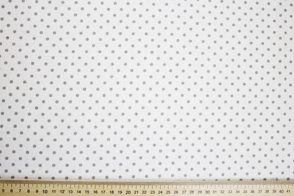 Dekorační látka bílá s šedými puntíky bez obšití 140