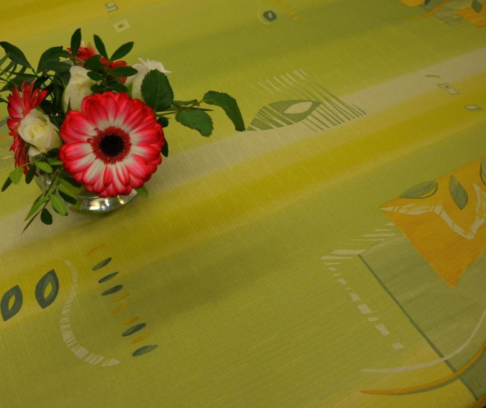 Teflonový ubrus tisk lístečky - zelený 140 x 180 cm