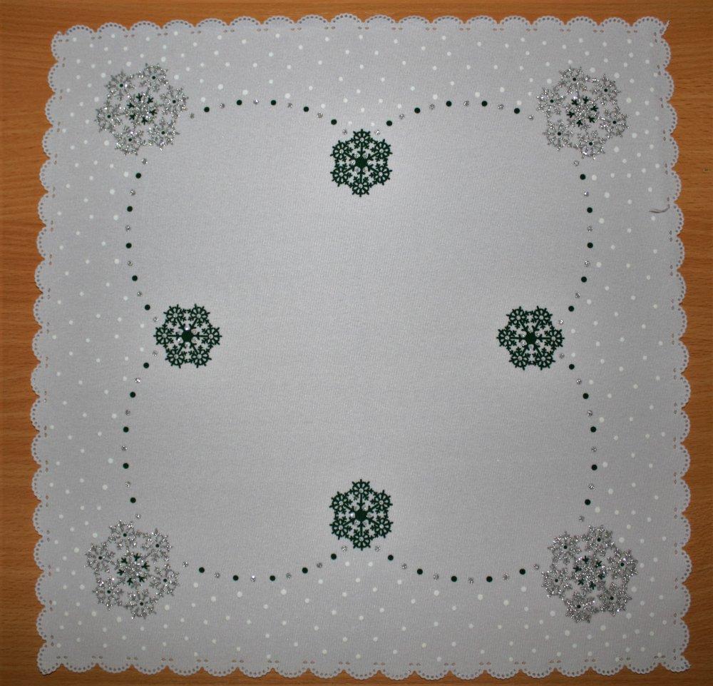 Vánoční ubrus - vločky zelená35 x 35 cm