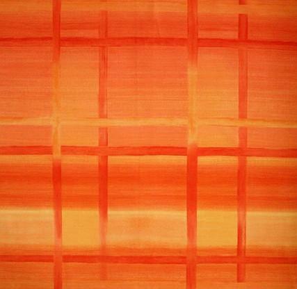 Teflonový ubrus kulatý 150cm kostka oranž.
