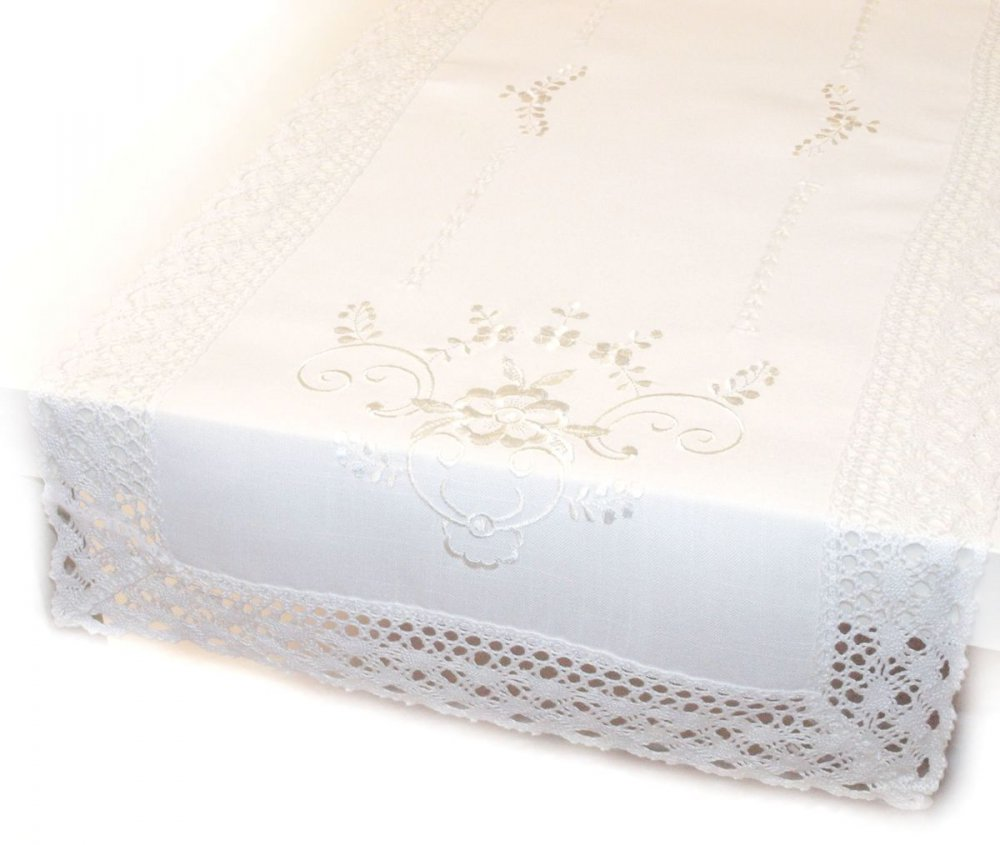 Ubrus Vintage 40 x 90 cm bílý 1
