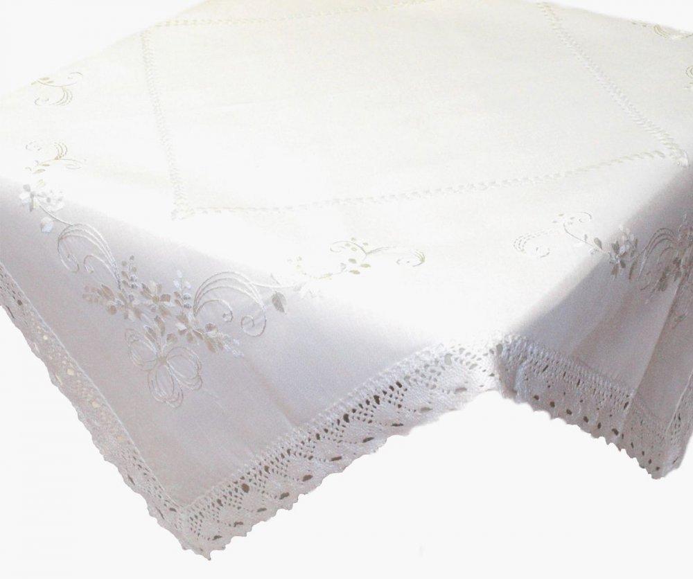 Ubrus Vintage 85 x 85 cm bílý