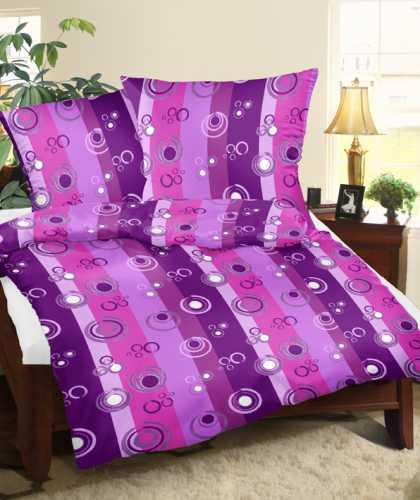 Povlečení krepové kruhy fialové 140x200 cm