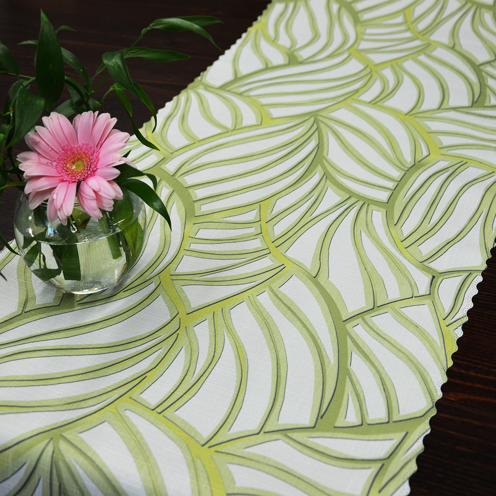 Dekorační látka bílo zelená bez obšití 38