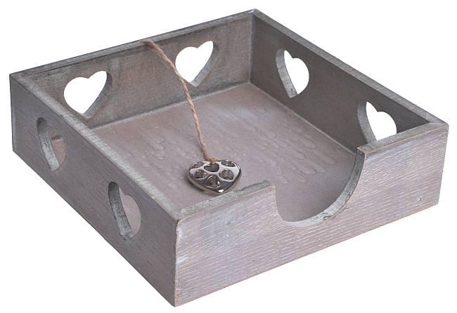 Dřevěná krabička na ubrousky se srdíčky